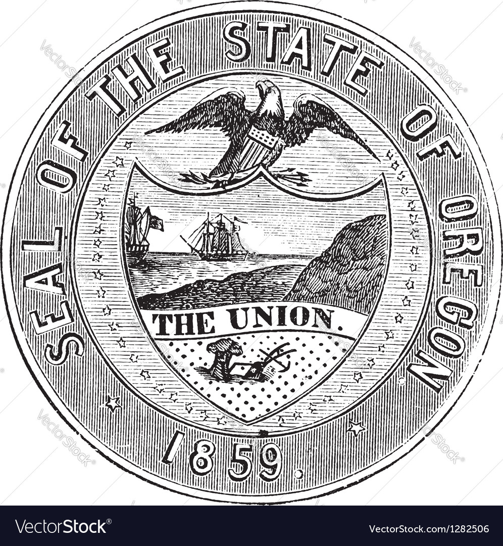 Oregon state seal vintage engraving vector | Price: 1 Credit (USD $1)