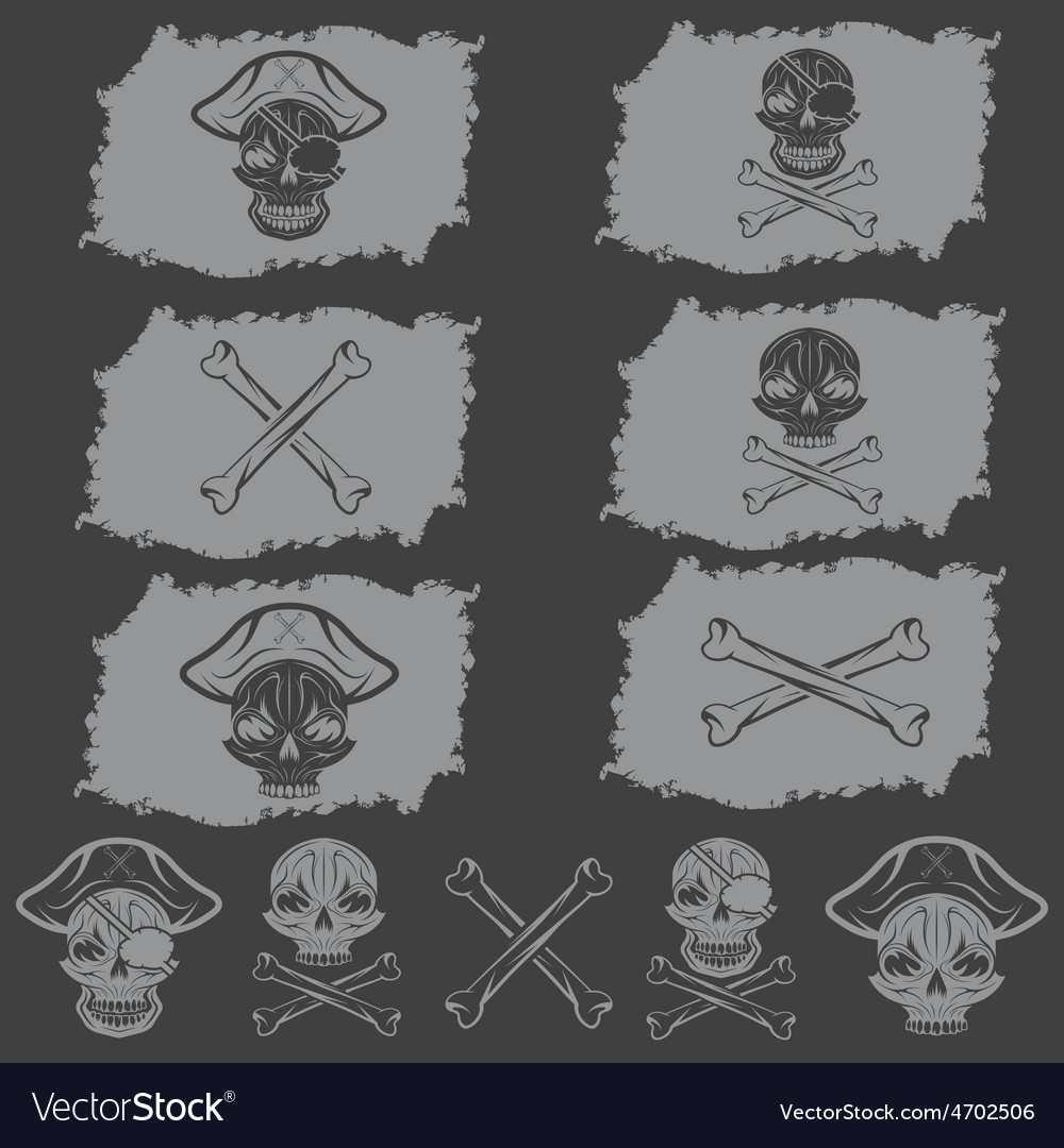 Pirate skull with hat set on flags and icons vector | Price: 1 Credit (USD $1)