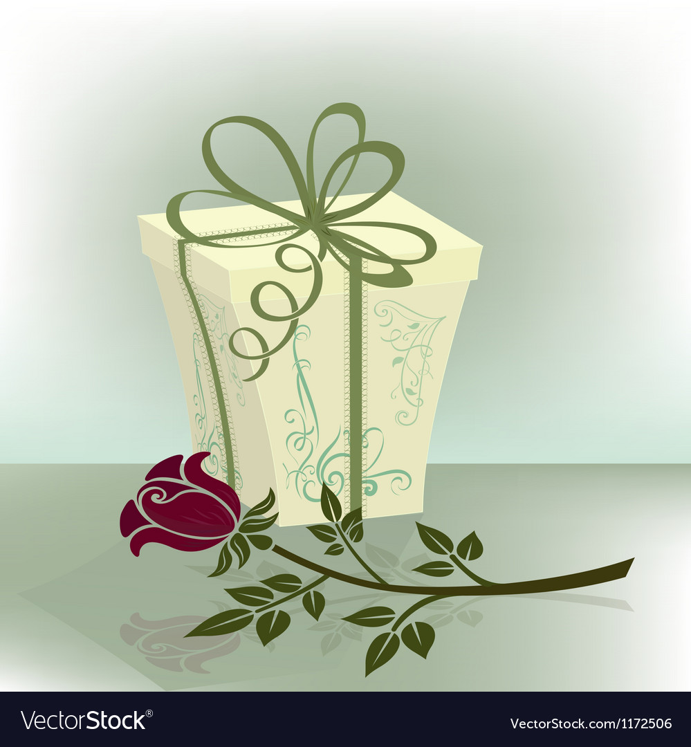 Present box with purple rose vector | Price: 1 Credit (USD $1)