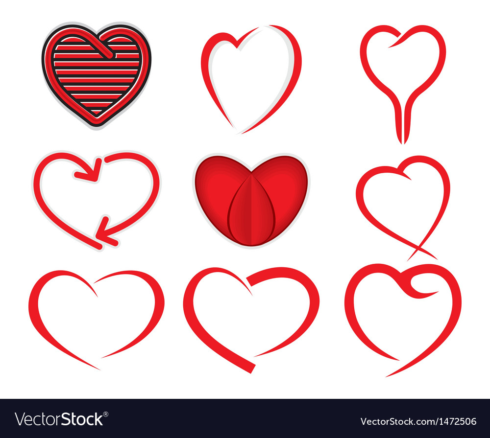 Red heart collection vector | Price: 1 Credit (USD $1)