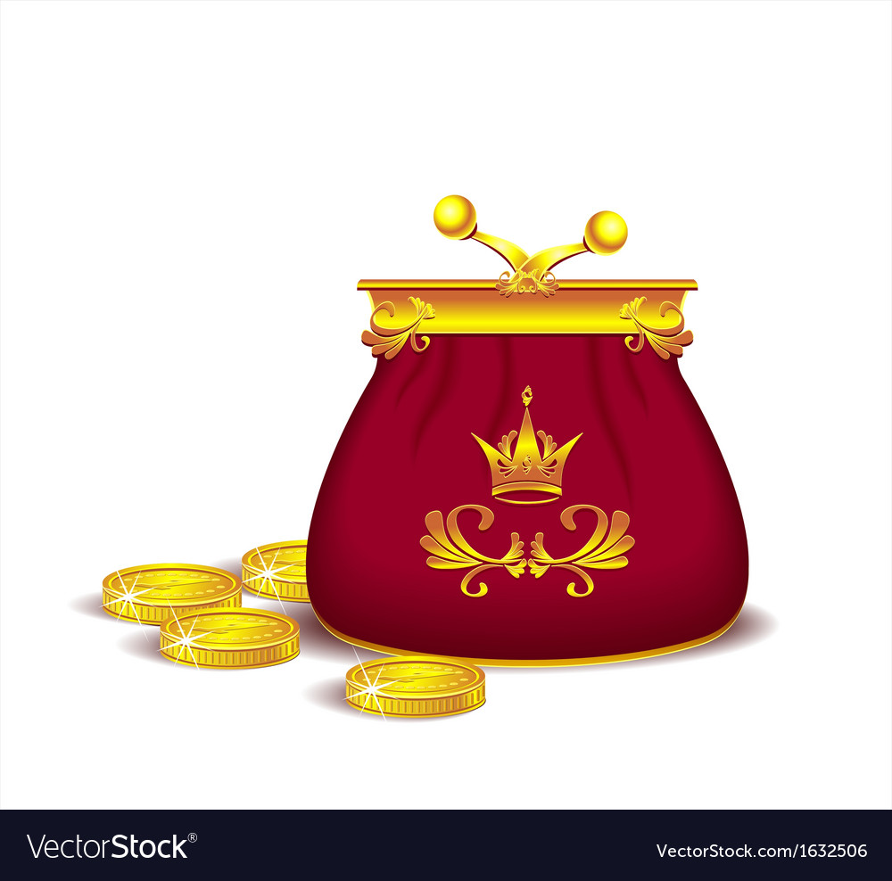 Royal purse with coins vector | Price: 1 Credit (USD $1)