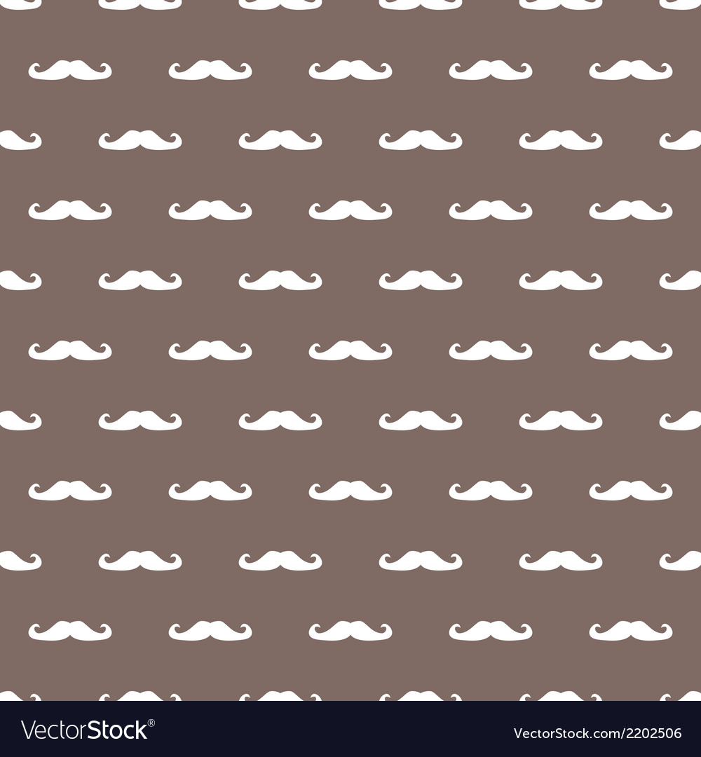 Tile hipster moustache white and brown background vector | Price: 1 Credit (USD $1)