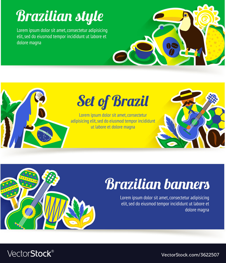 Brazil banner set vector   Price: 1 Credit (USD $1)