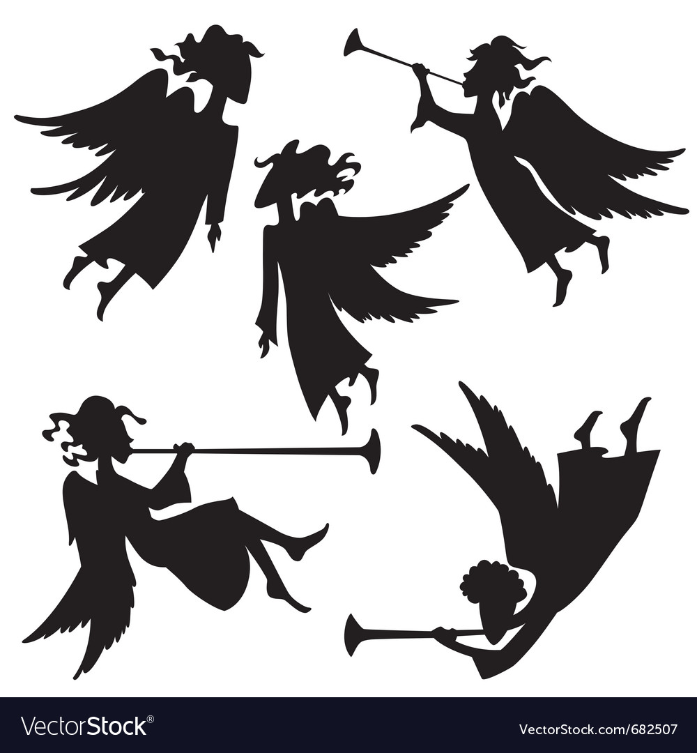 Christmas angel silhouettes vector | Price: 1 Credit (USD $1)
