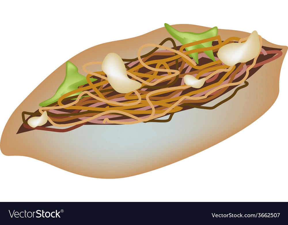 Delicious yakisoba pan on a white background vector | Price: 1 Credit (USD $1)