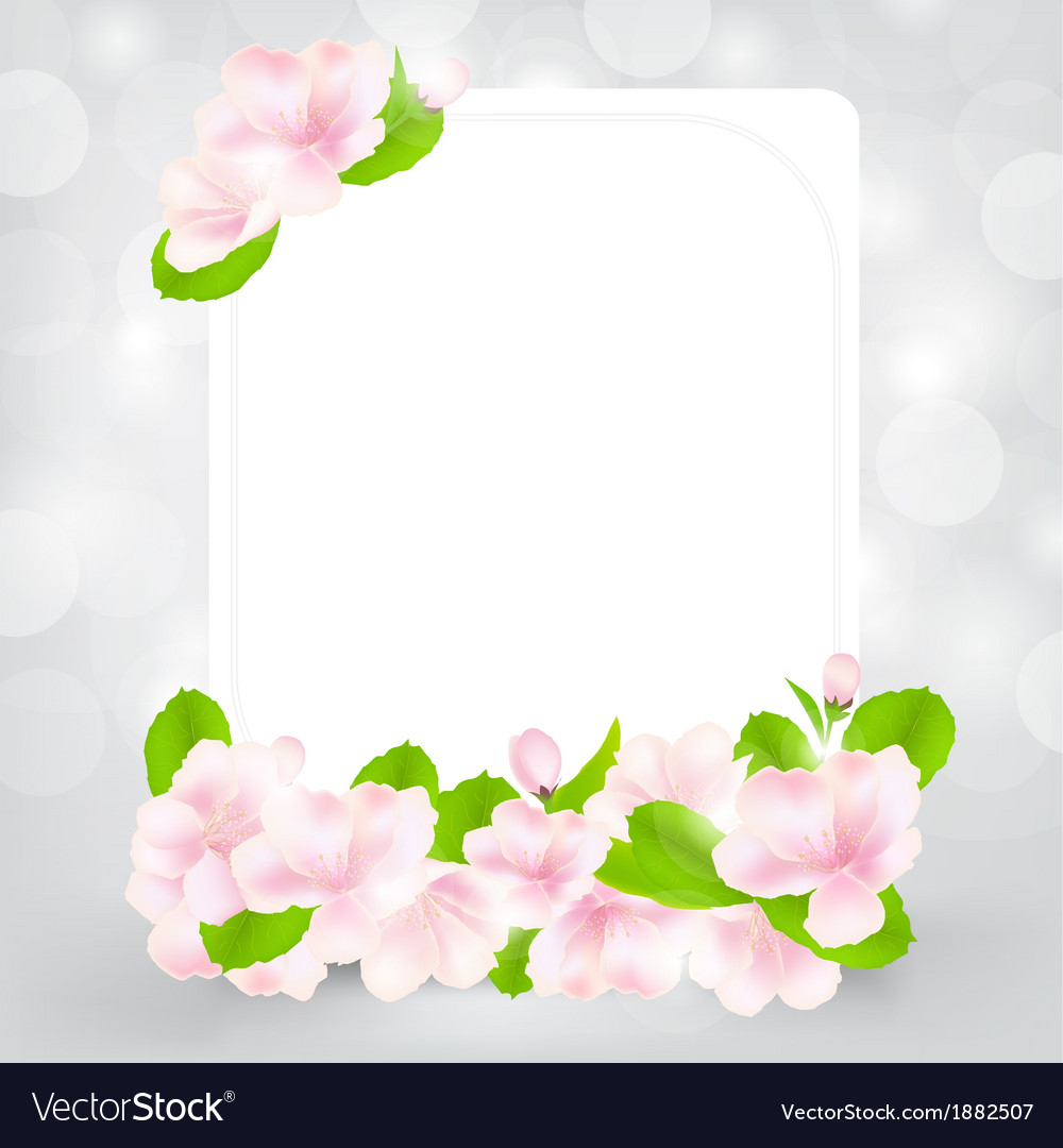 Gift card with apple flower vector | Price: 1 Credit (USD $1)