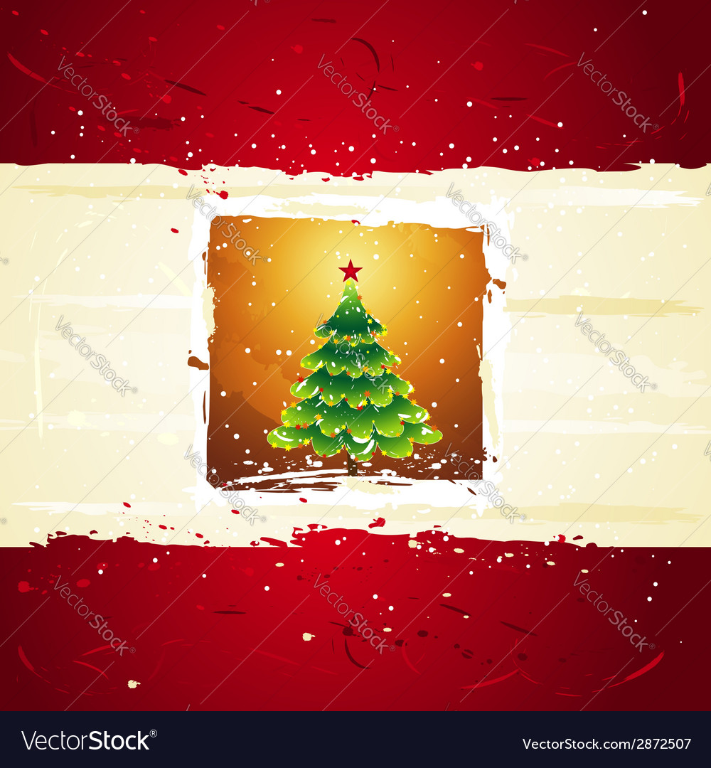 Green christmas tree over golden background vector | Price: 1 Credit (USD $1)