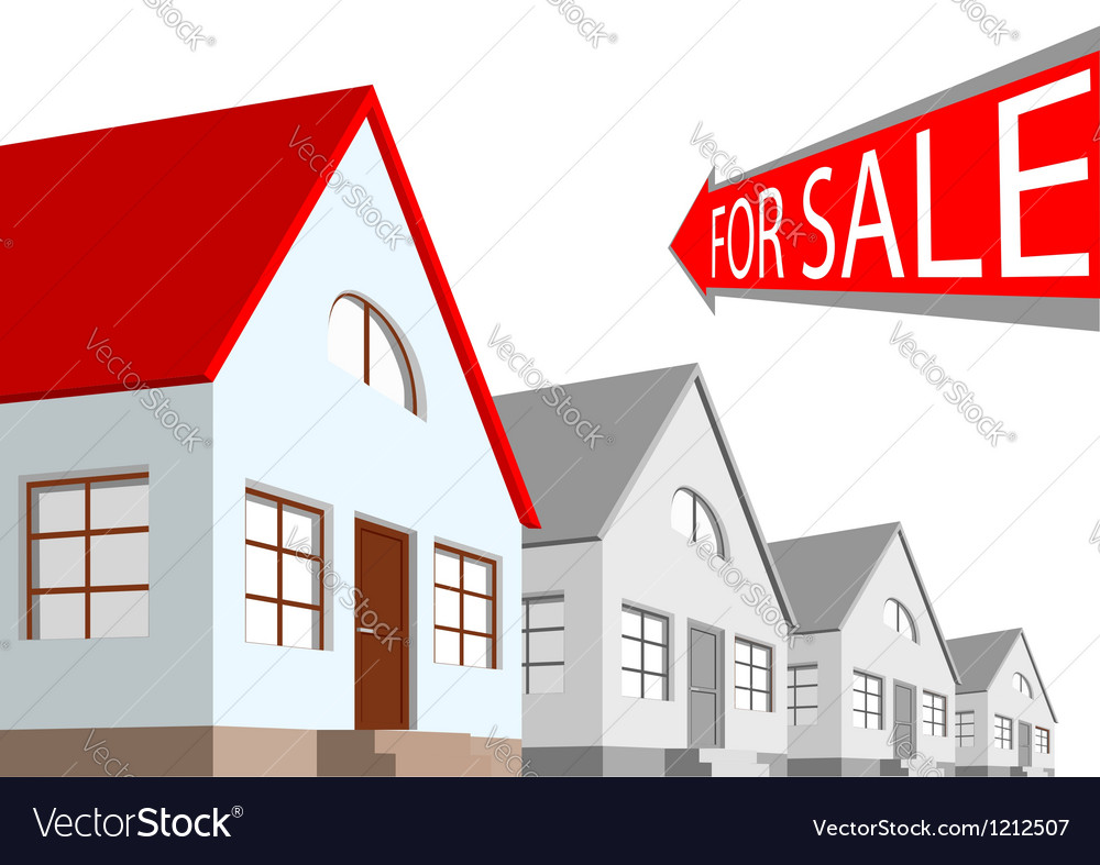 House and the arrow labeled for sale on a white ba vector | Price: 1 Credit (USD $1)