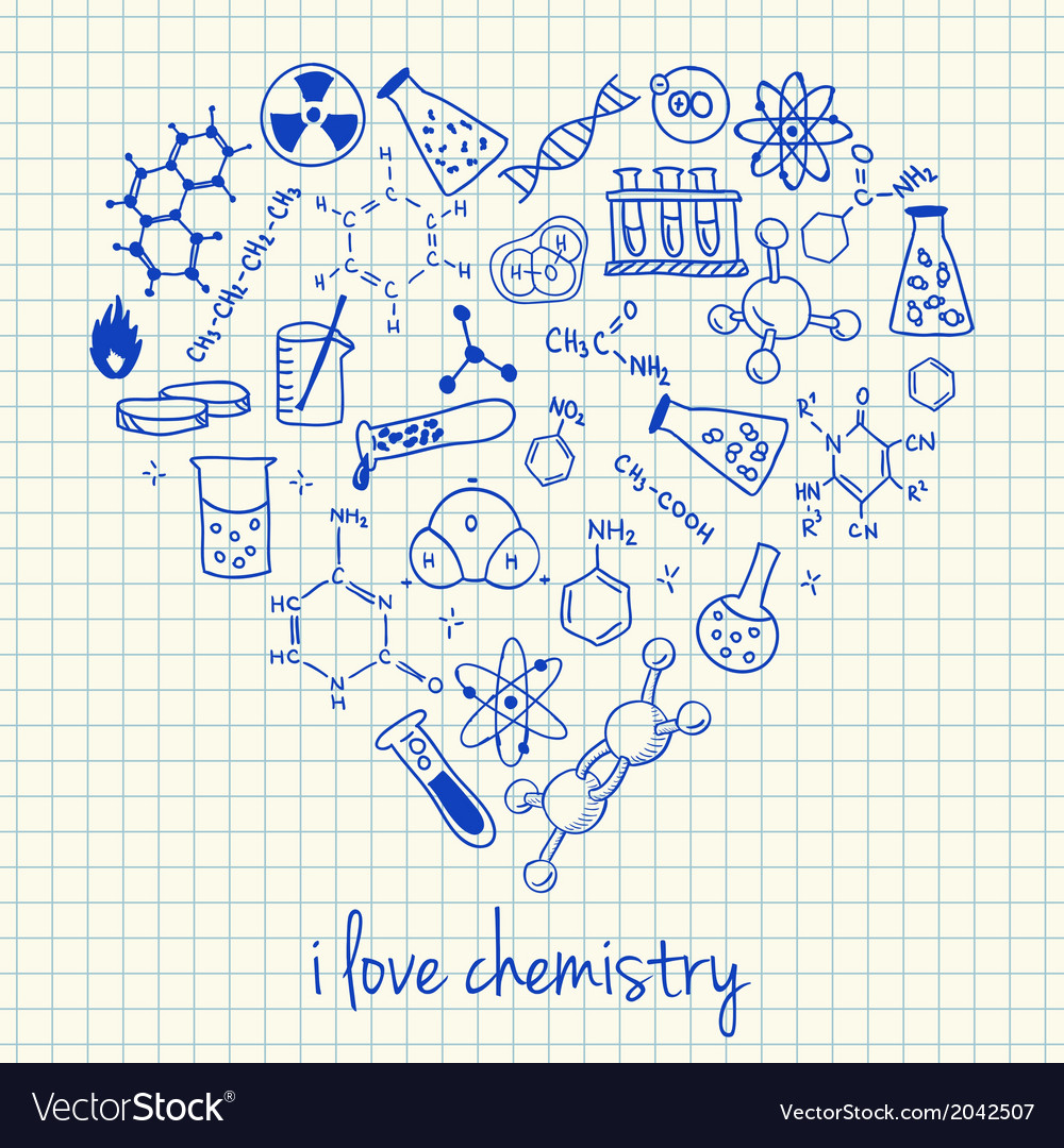 I love chemistry doodles in heart vector | Price: 1 Credit (USD $1)