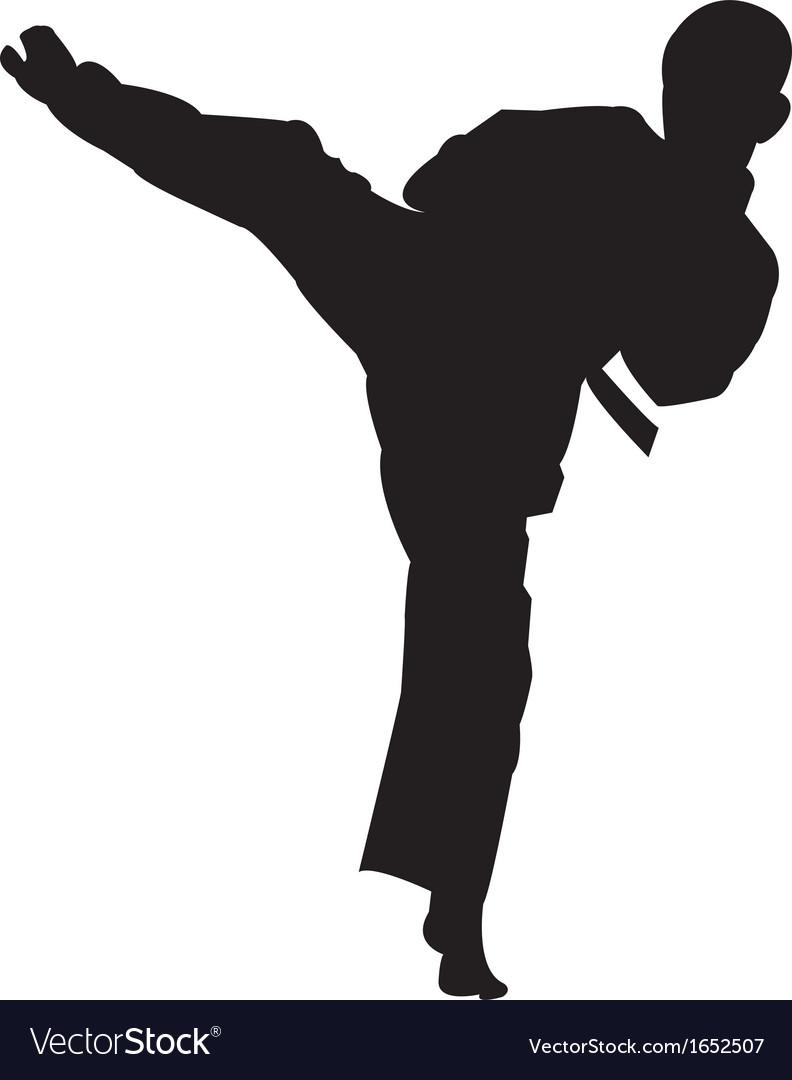 Karate boy kicking silhouette vector | Price: 1 Credit (USD $1)