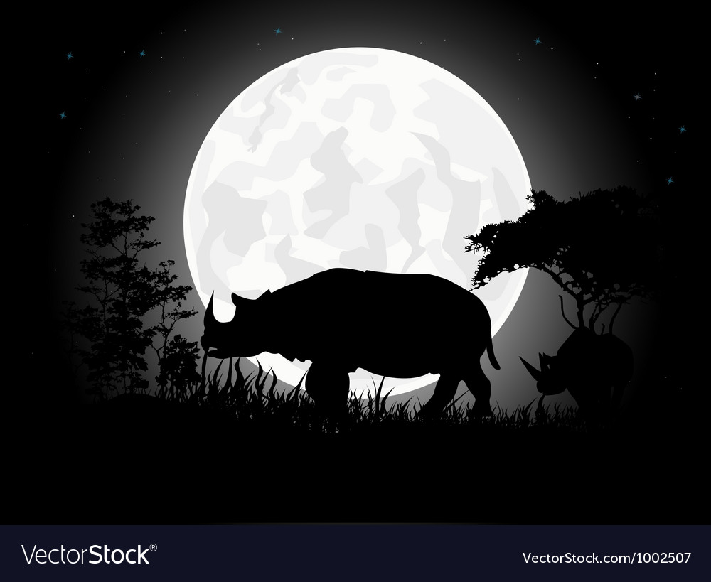 Rhino silhouettes with giant moon background vector | Price: 1 Credit (USD $1)