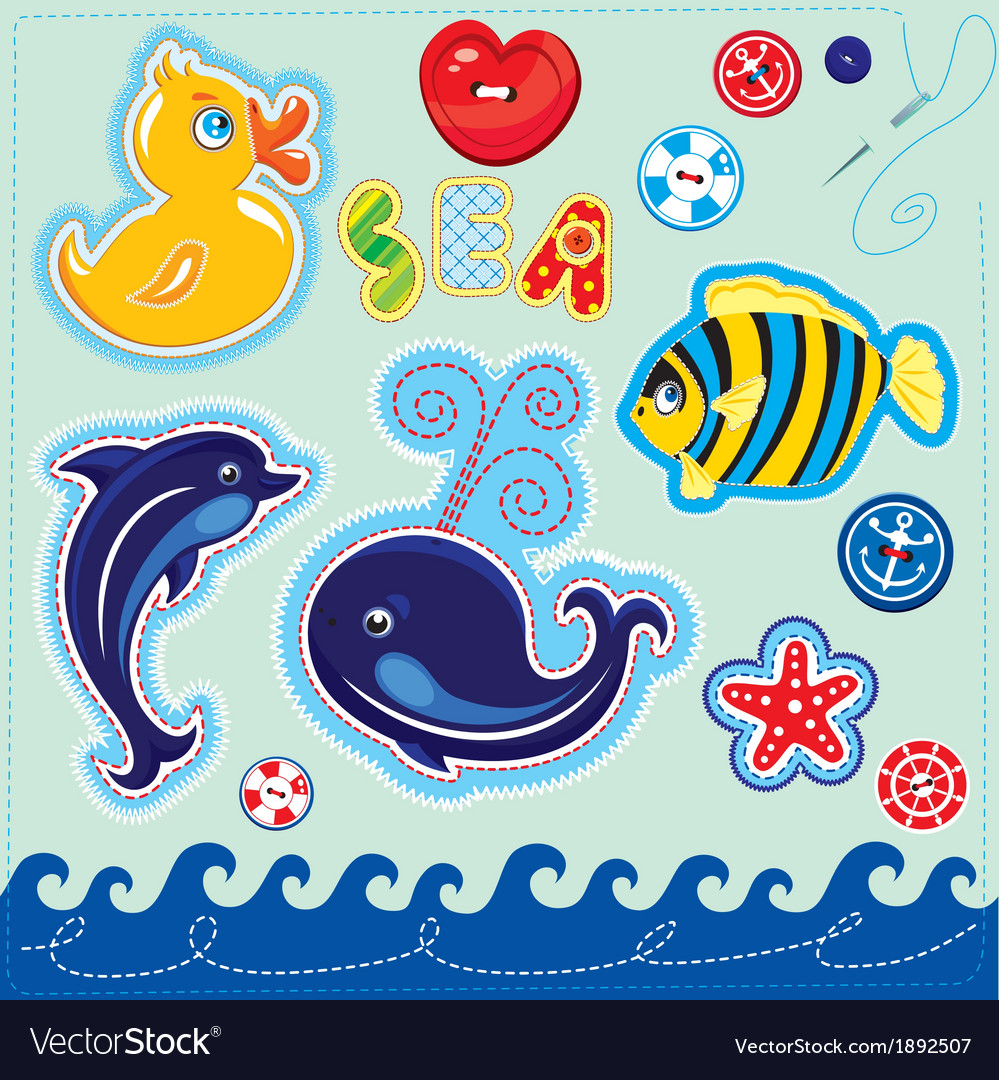 Set of buttons cartoon animals and word sea vector | Price: 1 Credit (USD $1)