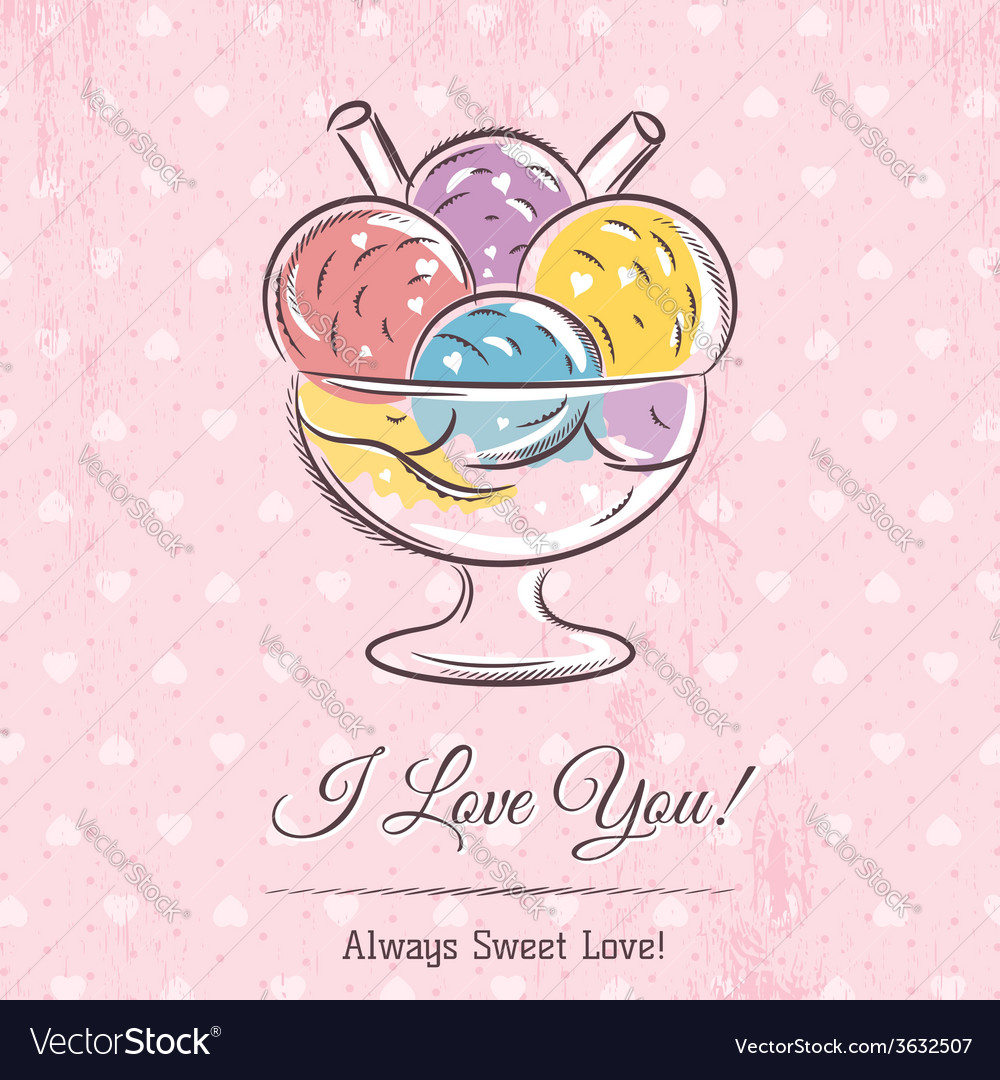 Valentine card with ice cream and wishes text vector | Price: 1 Credit (USD $1)