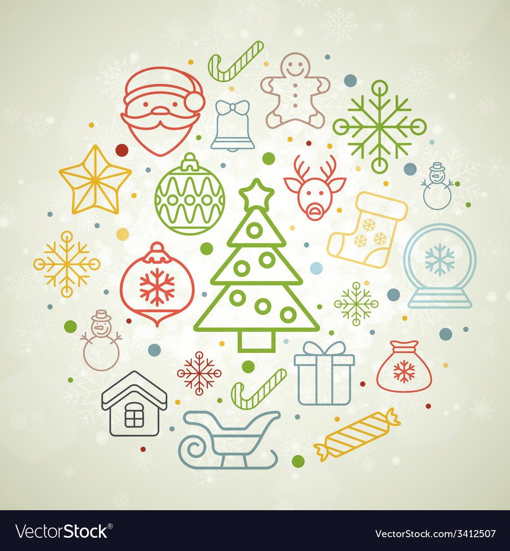 Vintage christmas greeting card icons and symbols vector   Price: 1 Credit (USD $1)