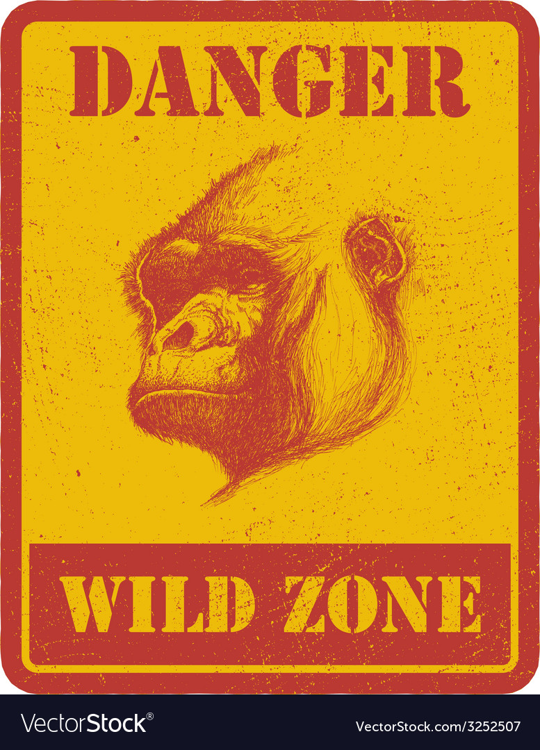 Warning sign danger signal with gorilla eps 8 vector   Price: 1 Credit (USD $1)
