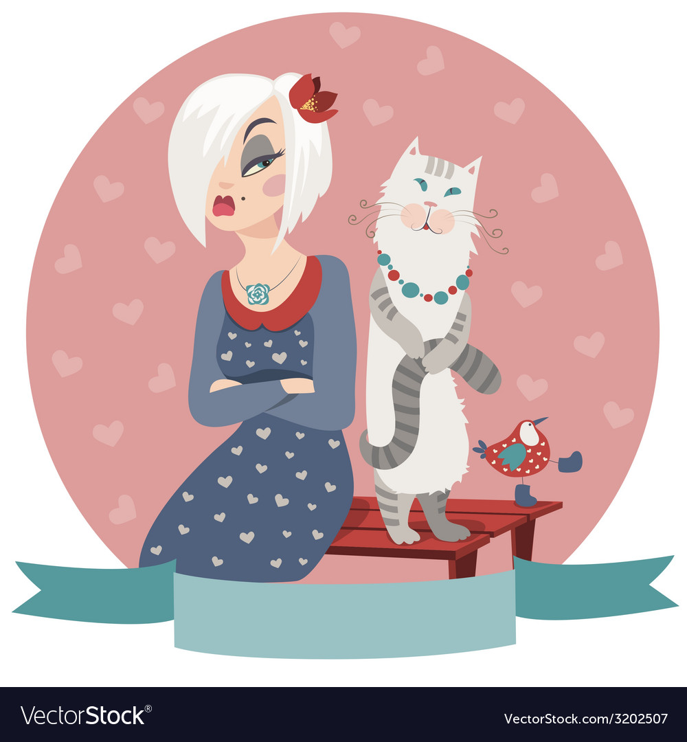 Woman offended by cat vector | Price: 1 Credit (USD $1)