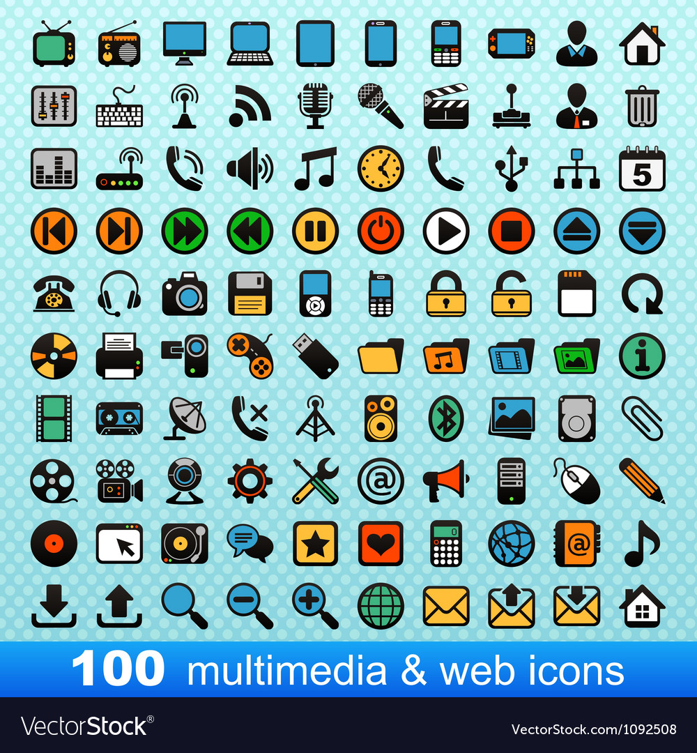 100 multimedia and web icons vector | Price: 1 Credit (USD $1)