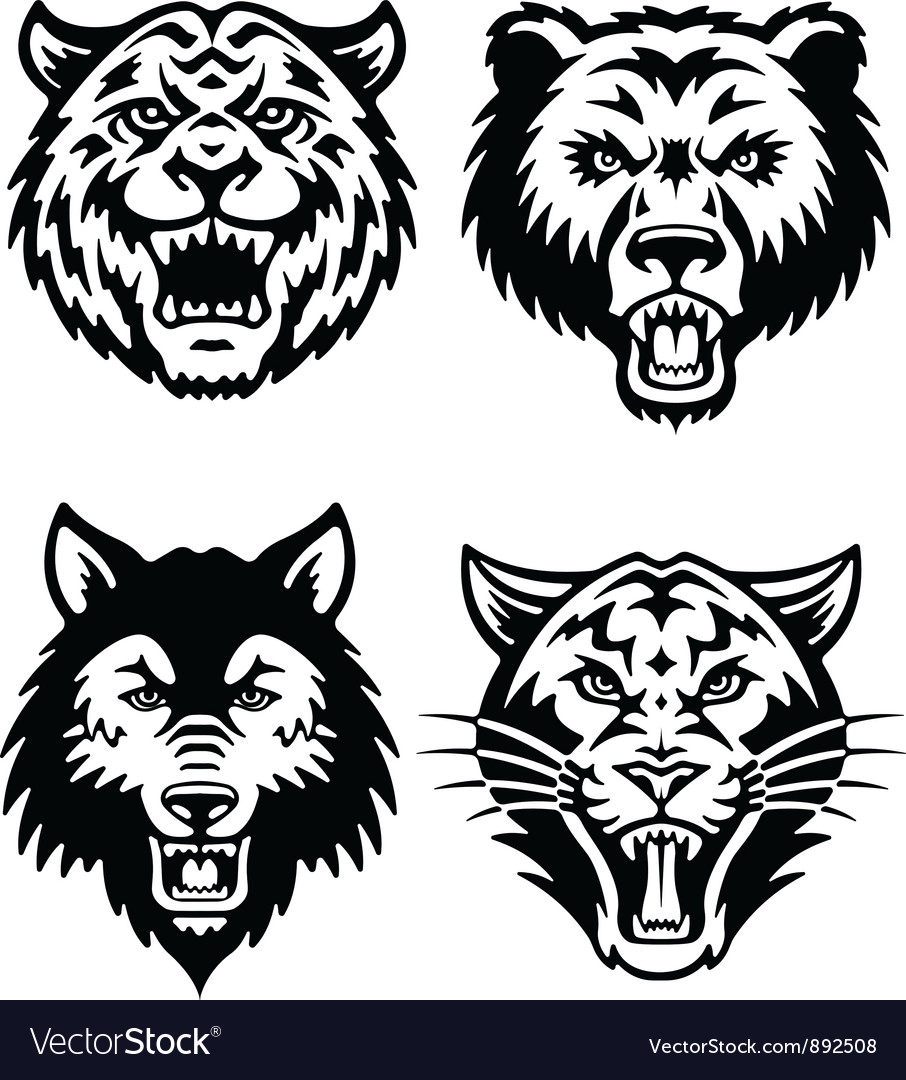 Animal mascot logo set vector | Price: 1 Credit (USD $1)