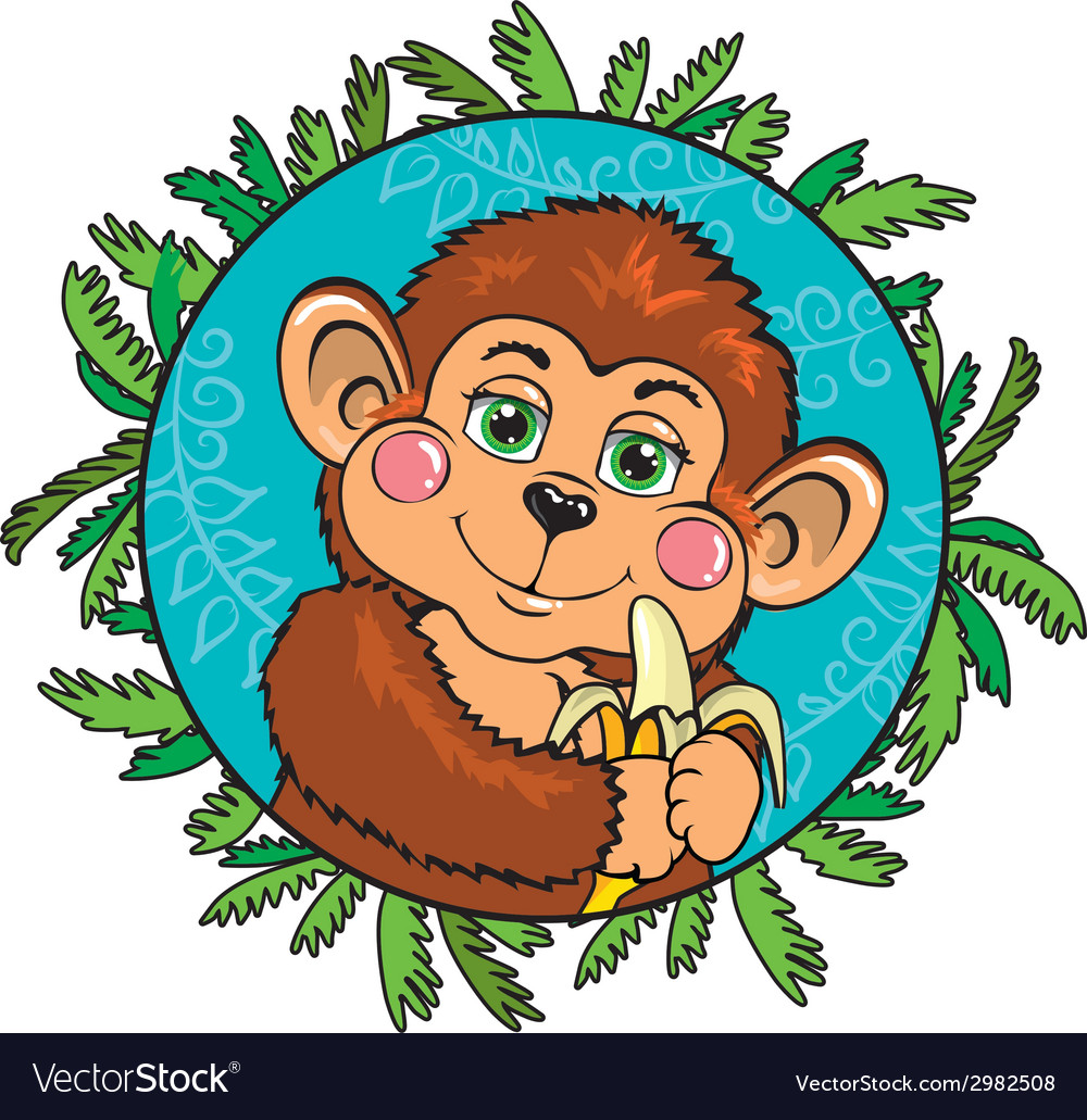 Funny monkey with a banana in her hand as part of vector | Price: 1 Credit (USD $1)
