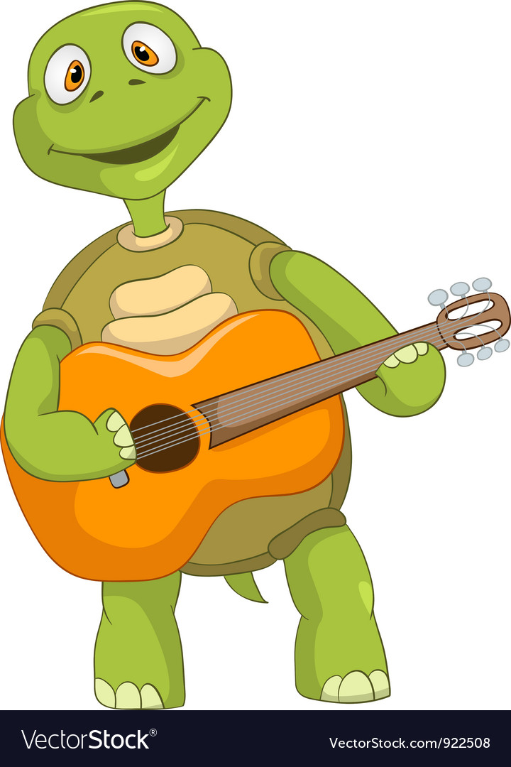 Funny turtle guitarist vector | Price: 1 Credit (USD $1)