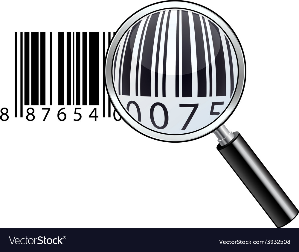 Glossy magnifying barcode vector | Price: 1 Credit (USD $1)