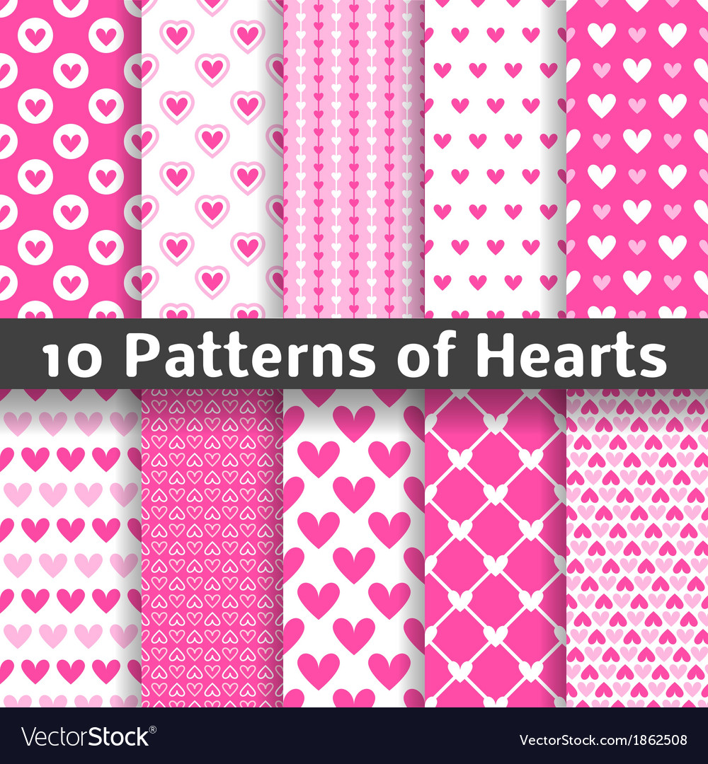 Heart shape seamless patterns tiling vector | Price: 1 Credit (USD $1)