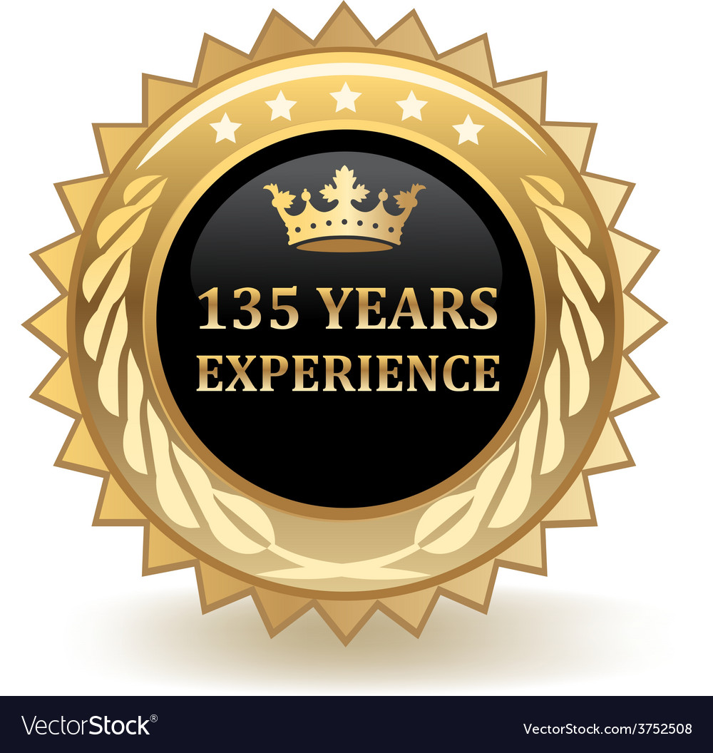 Hundred thirty five years experience badge vector | Price: 1 Credit (USD $1)