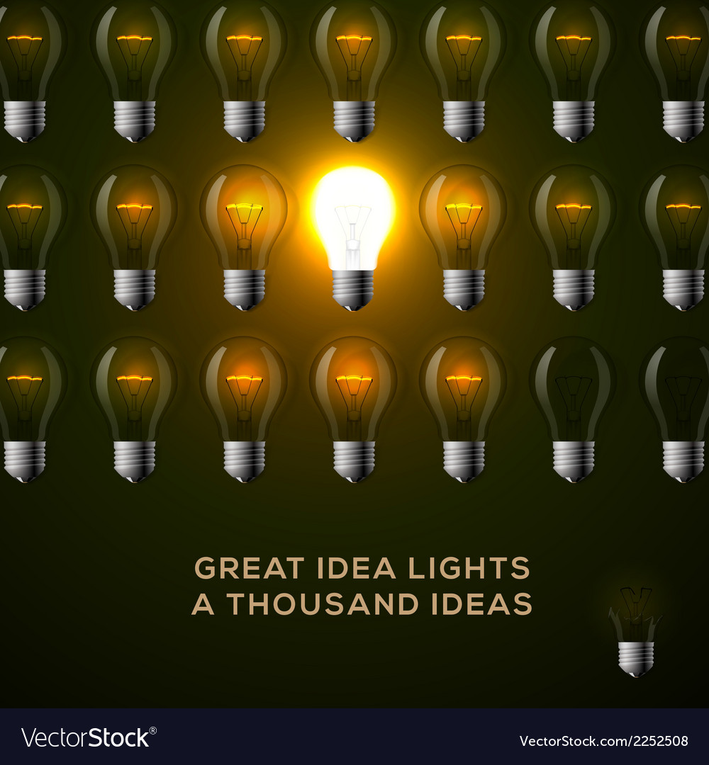 Idea concept row of light bulbs vector | Price: 1 Credit (USD $1)