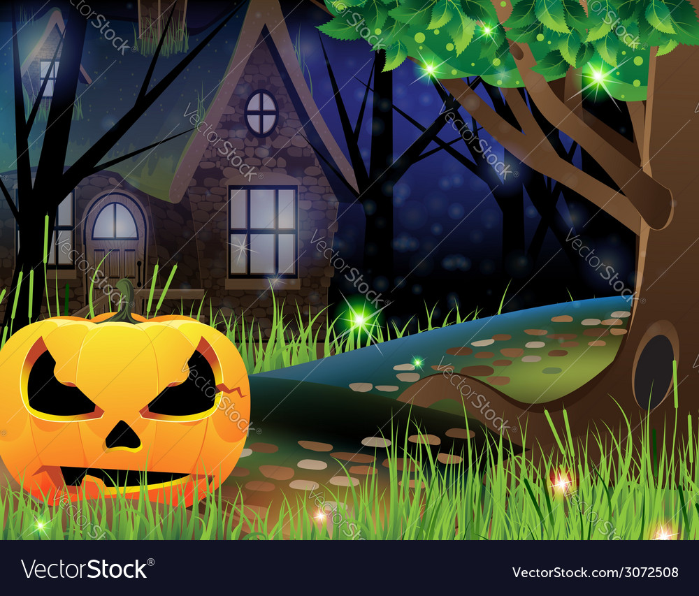 Jack o lantern and abandoned house vector | Price: 3 Credit (USD $3)