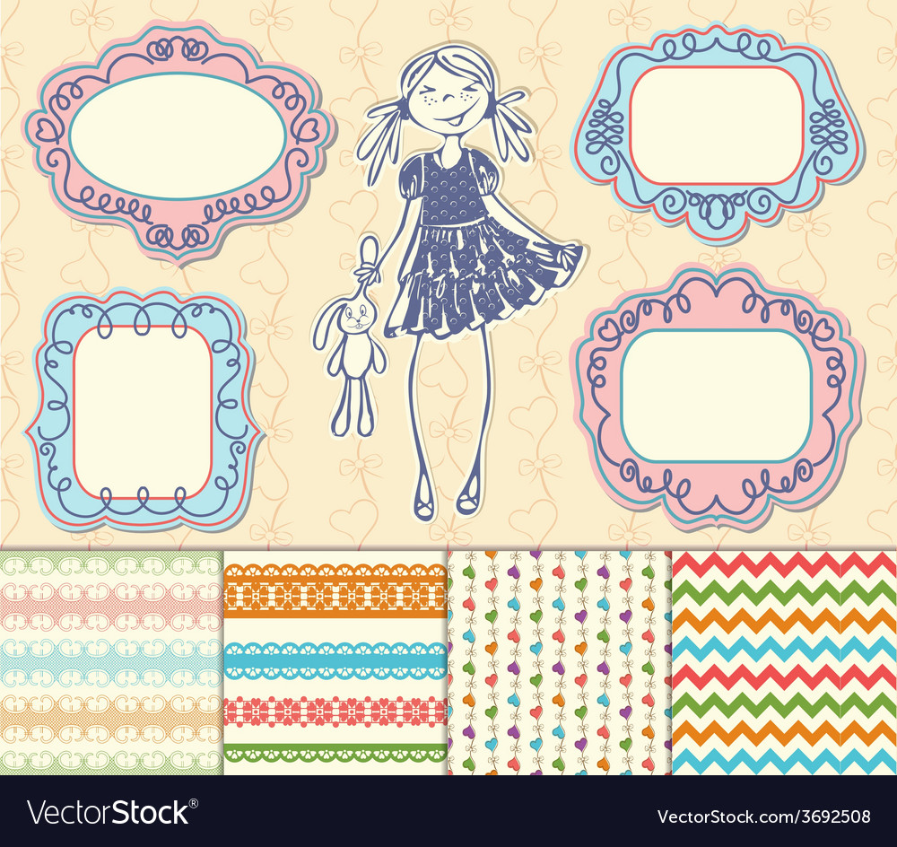 Set frames and backgrounds baby girl vector