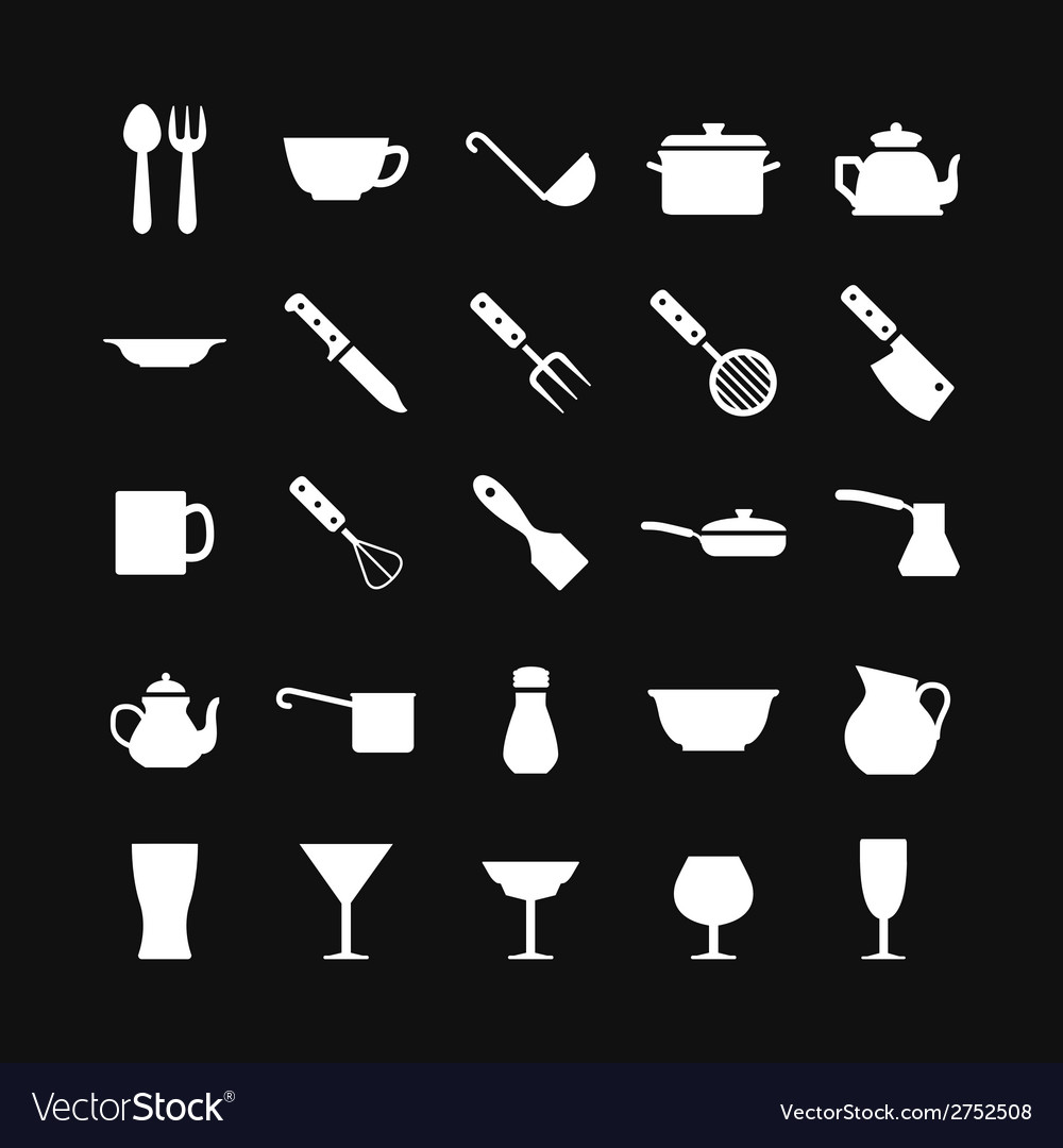 Set icons of dishware and kitchen accessories vector | Price: 1 Credit (USD $1)