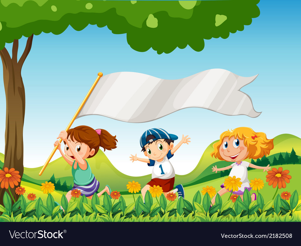Three kids running with a banner vector | Price: 1 Credit (USD $1)