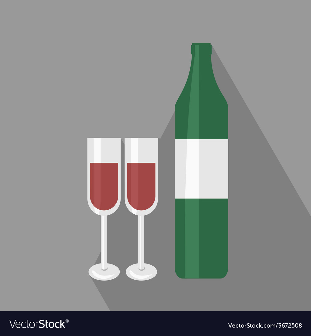 Wine bottle ant two glasses flat icon vector | Price: 1 Credit (USD $1)
