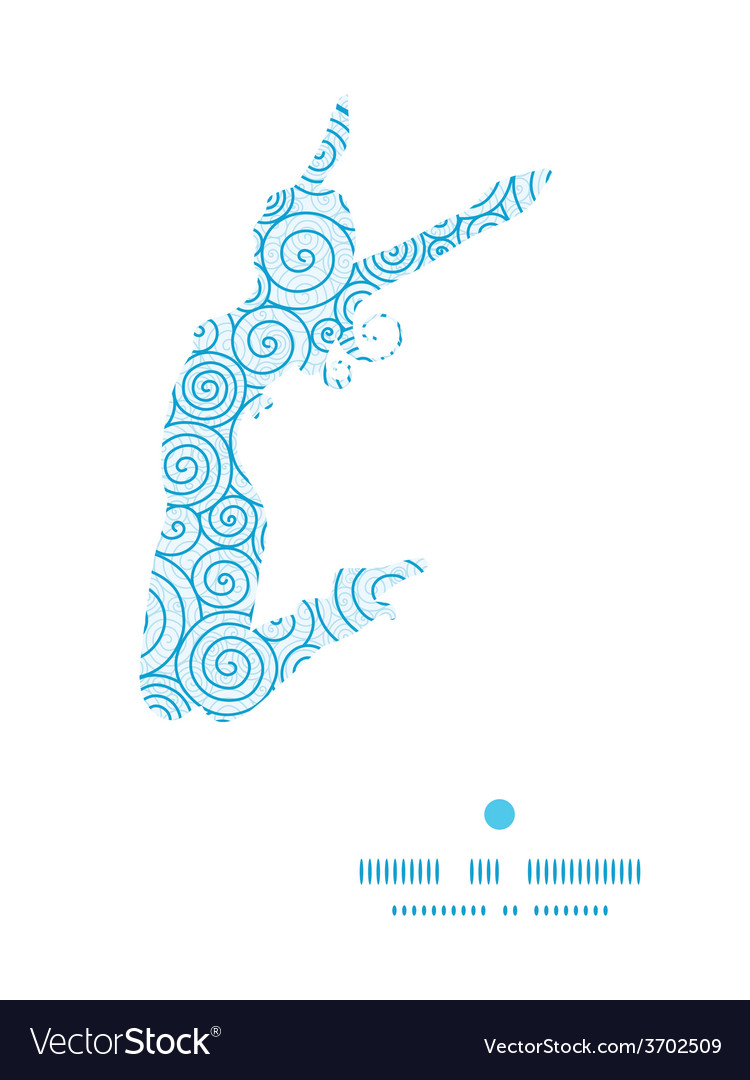 Abstract swirls jumping girl silhouette vector | Price: 1 Credit (USD $1)