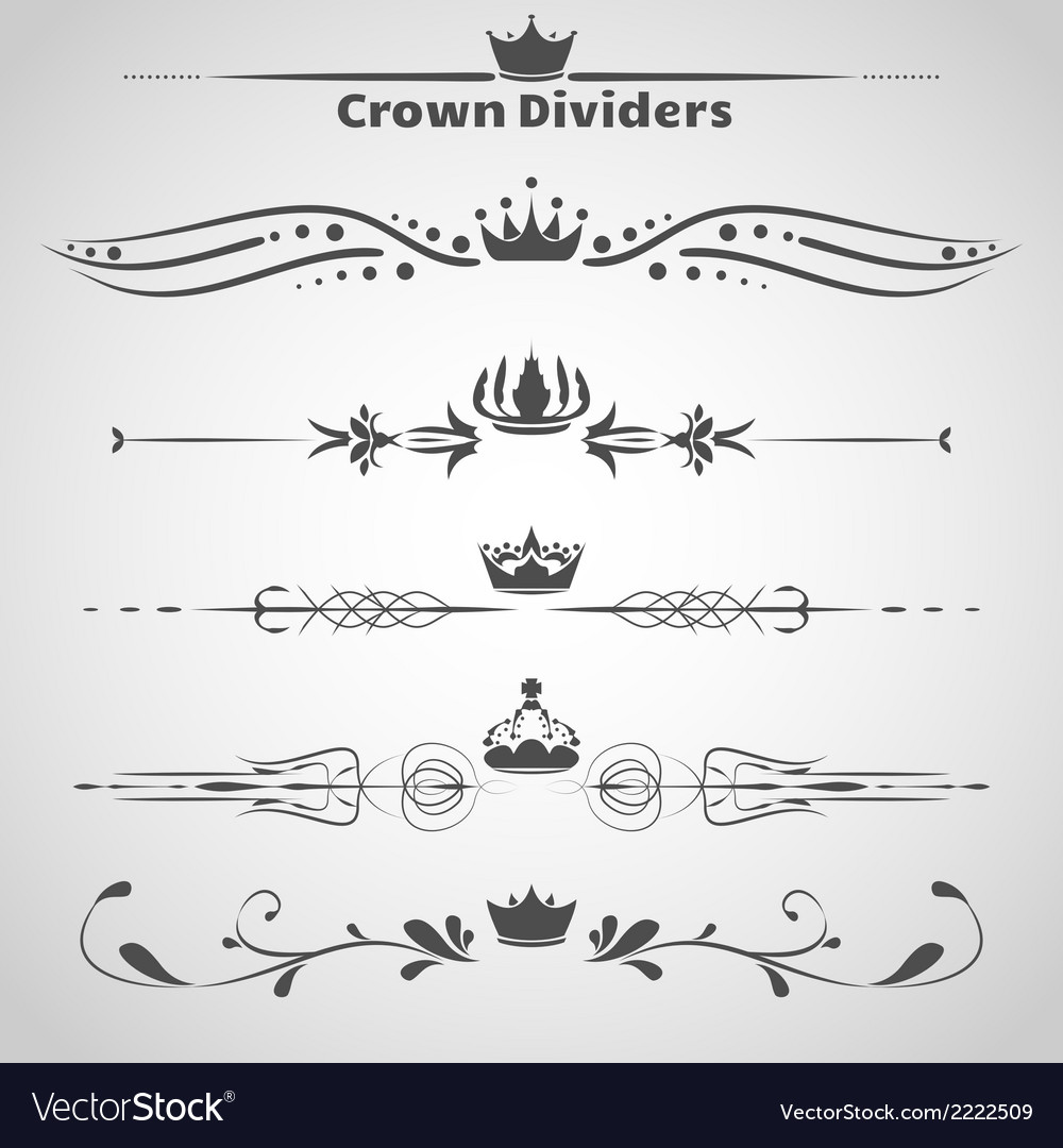 Crown dividers set copy vector | Price: 1 Credit (USD $1)