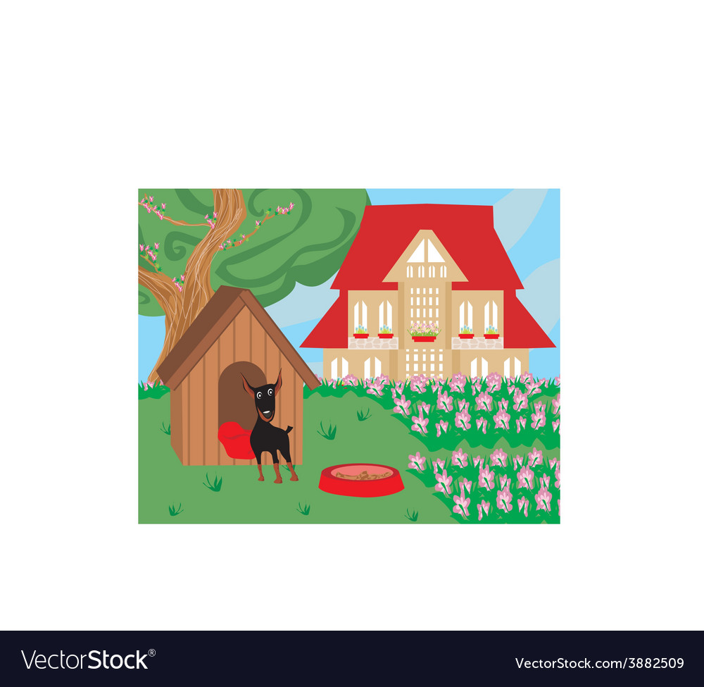 Dog in the garden near the dog kennels vector | Price: 1 Credit (USD $1)