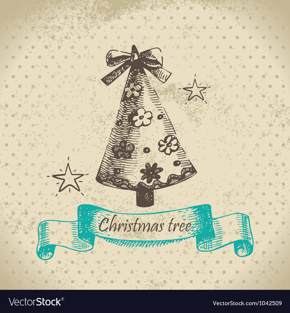 Hand drawn christmas tree design vector | Price: 1 Credit (USD $1)