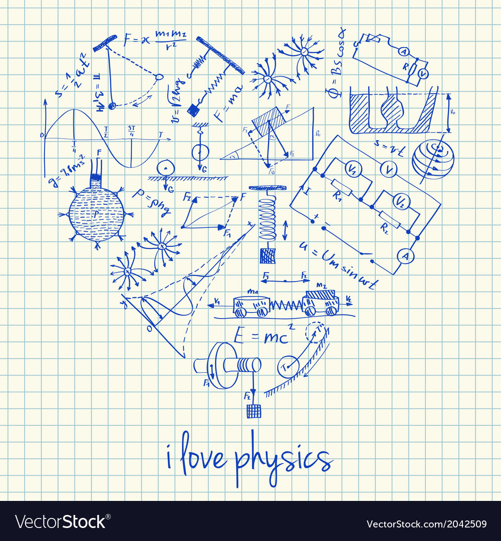 I love physics doodles in heart vector | Price: 1 Credit (USD $1)