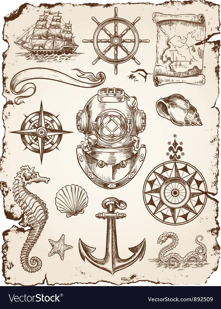 Nautical set vector | Price: 1 Credit (USD $1)