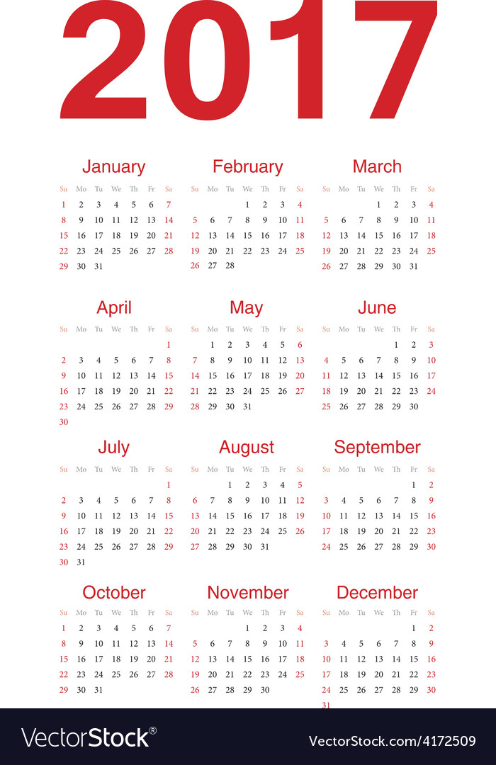 Simple red european calendar 2017 vector | Price: 1 Credit (USD $1)