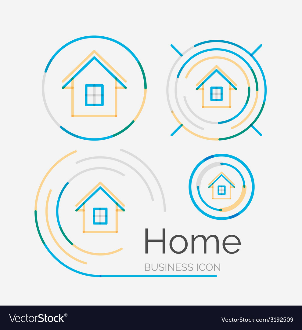 Thin line neat design logo set home idea vector | Price: 1 Credit (USD $1)