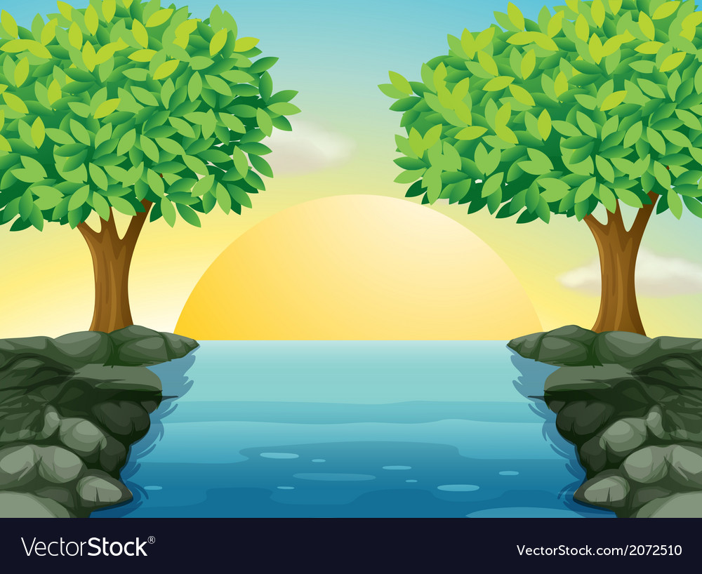 A view of the beautiful river vector   Price: 1 Credit (USD $1)