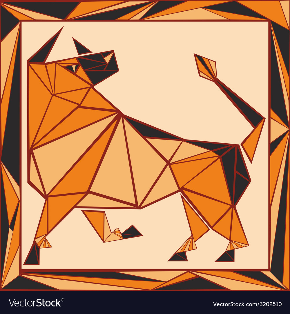 Chinese horoscope stylized stained glass ox vector | Price: 1 Credit (USD $1)