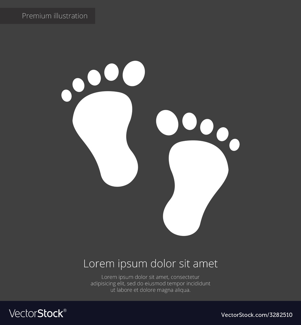 Footprints premium icon white on dark background vector | Price: 1 Credit (USD $1)