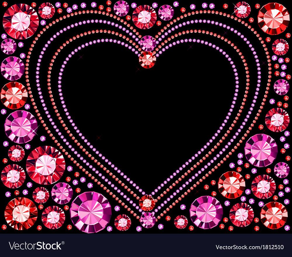 Gem heart frame vector   Price: 1 Credit (USD $1)