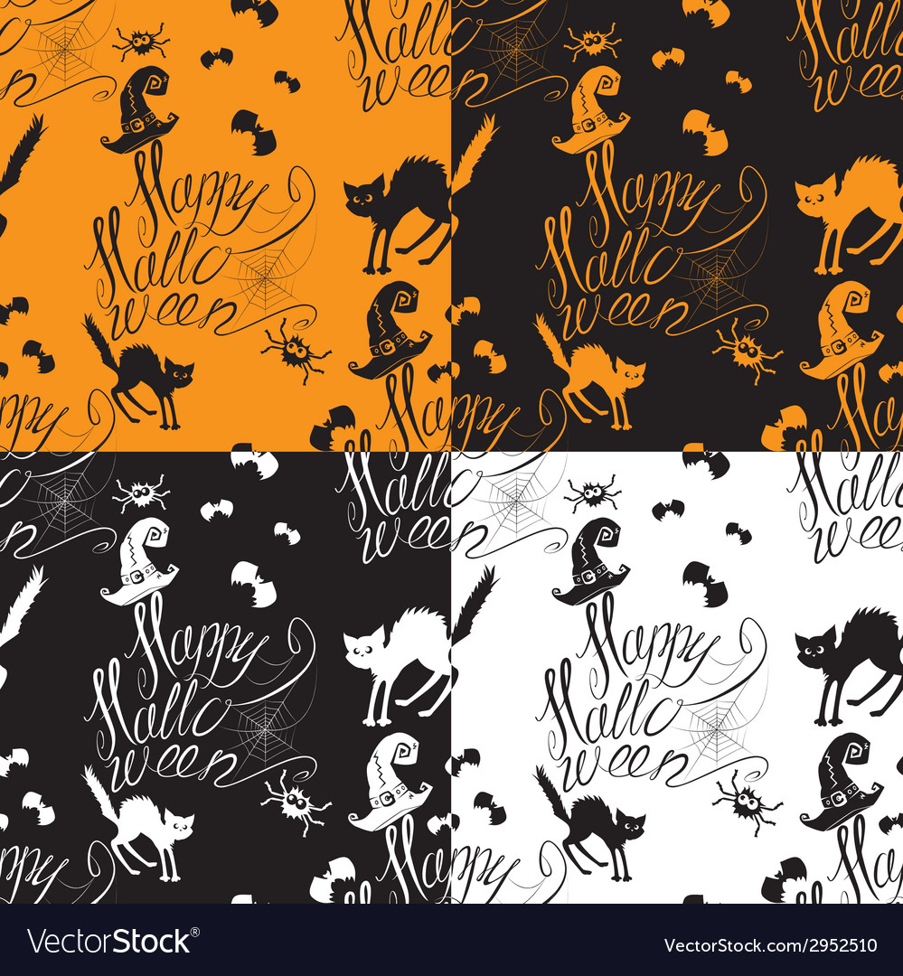 Halloween seamless pattern with black cat bats vector | Price: 1 Credit (USD $1)