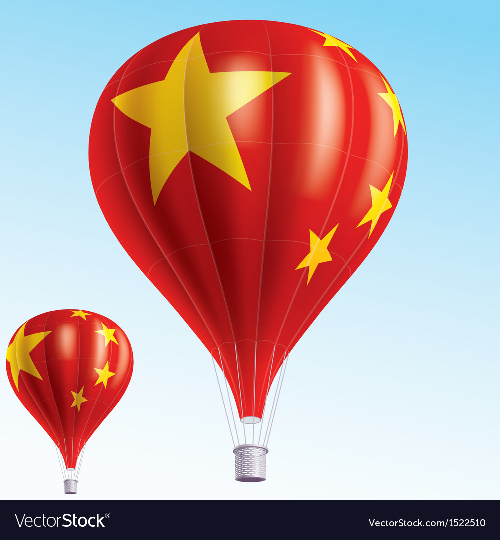 Hot balloons painted as chinese flag vector | Price: 3 Credit (USD $3)
