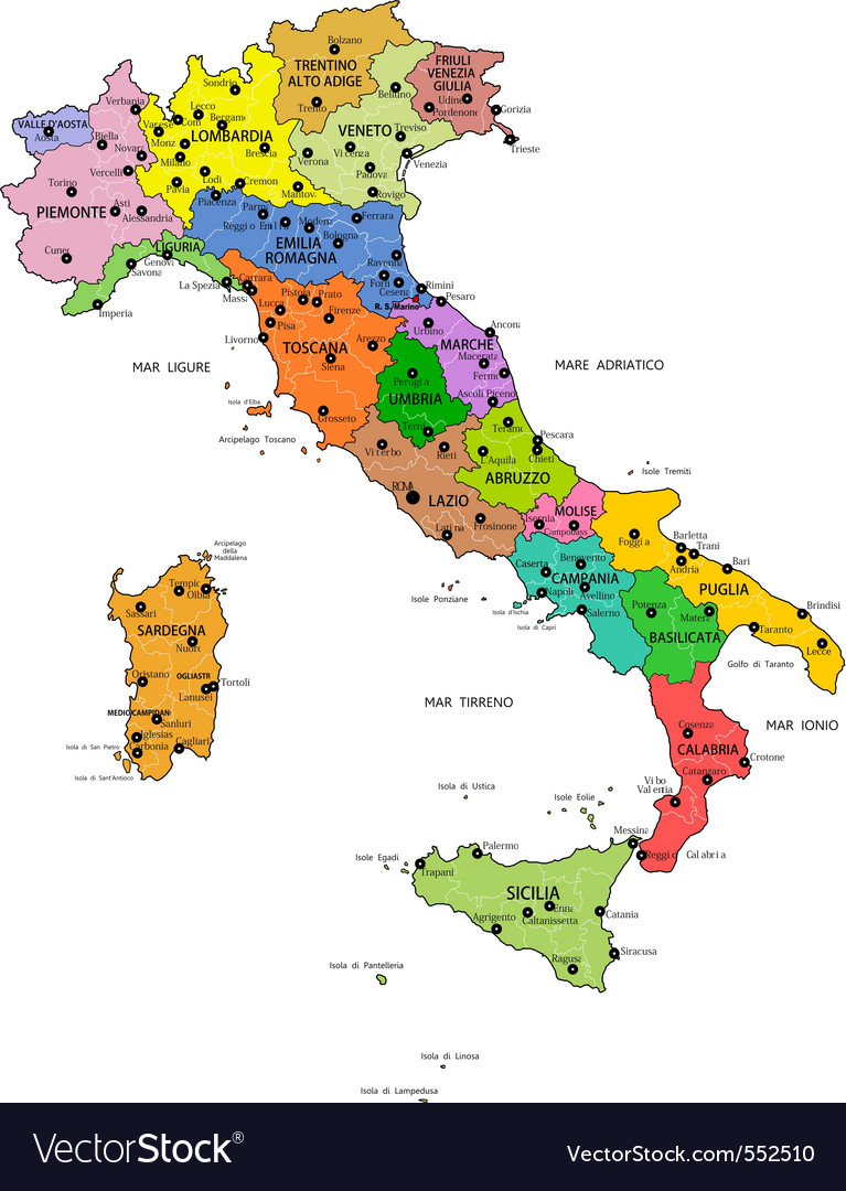 Italian map vector | Price: 1 Credit (USD $1)