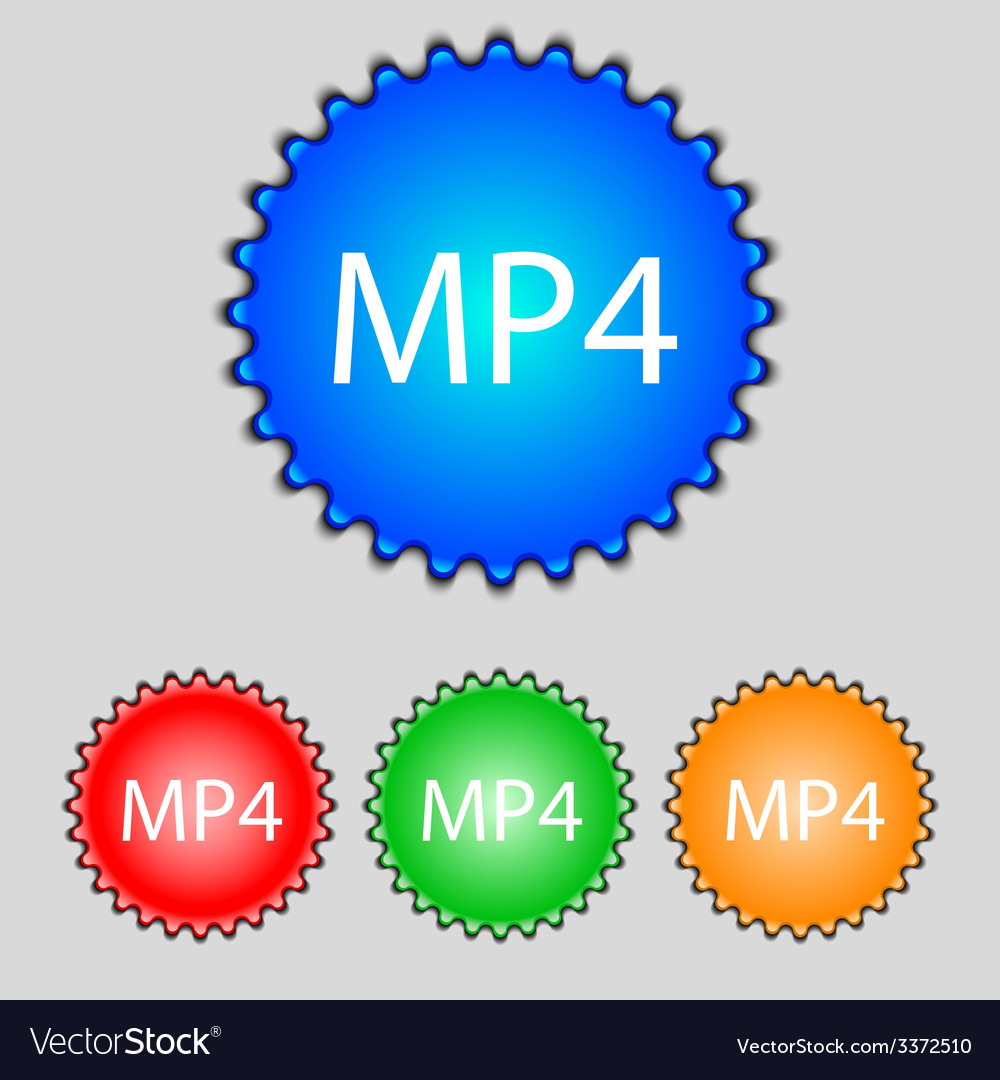 Mpeg4 video format sign icon symbol set of colored vector | Price: 1 Credit (USD $1)