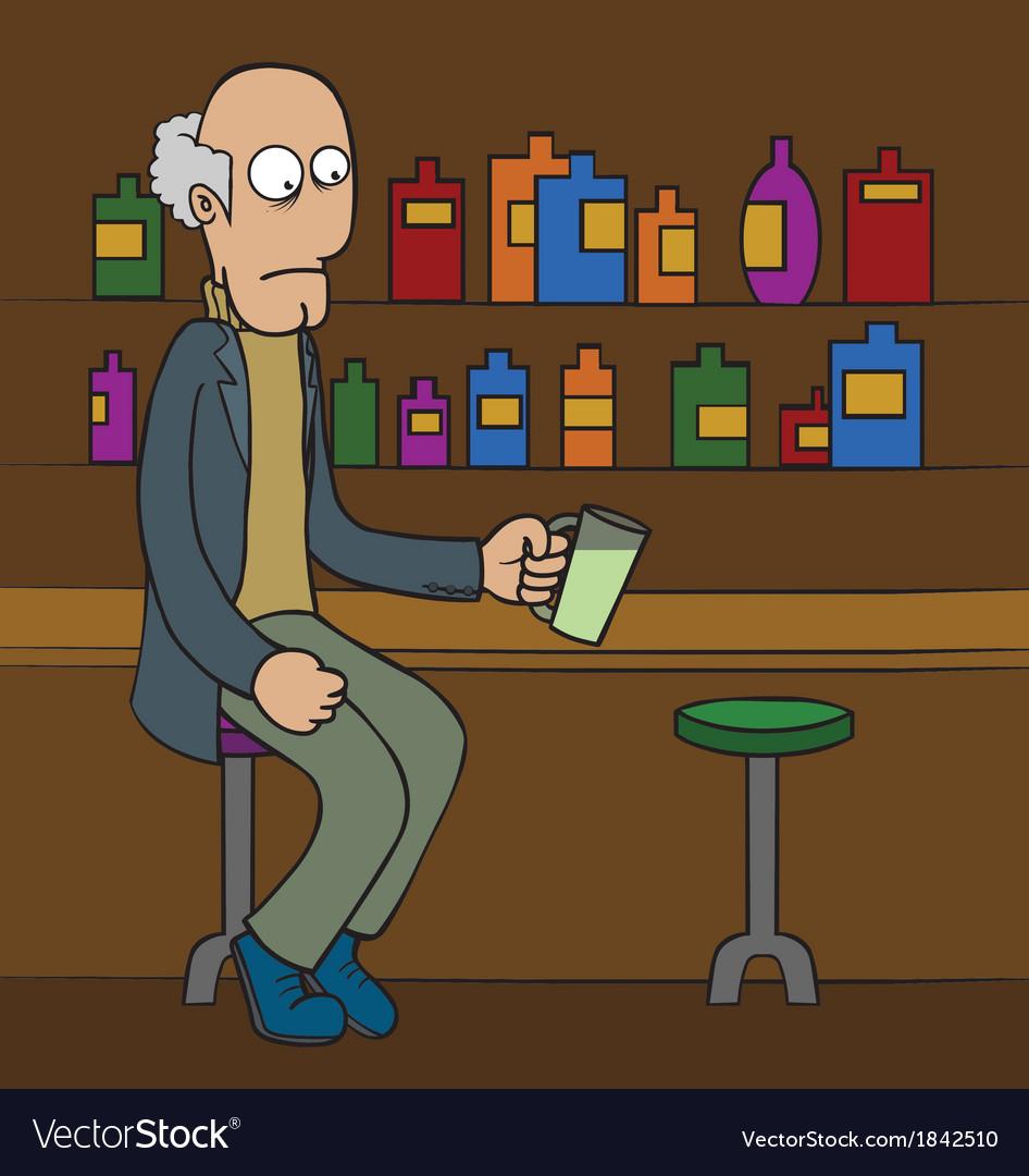 Oldman at bar cartoon vector   Price: 1 Credit (USD $1)